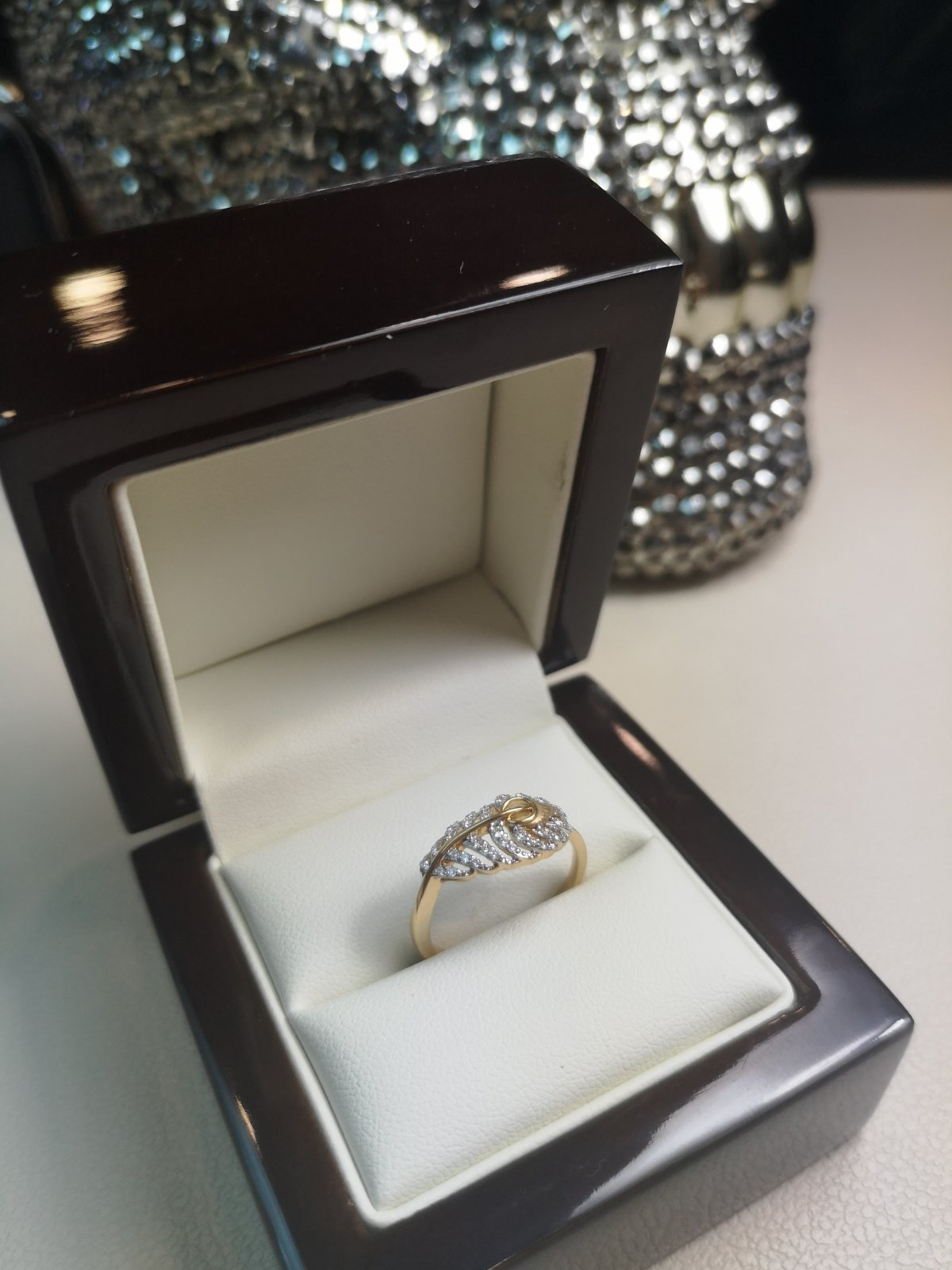 """Inel """"frunza"""" Aur 18k cu Diamante Naturale"""